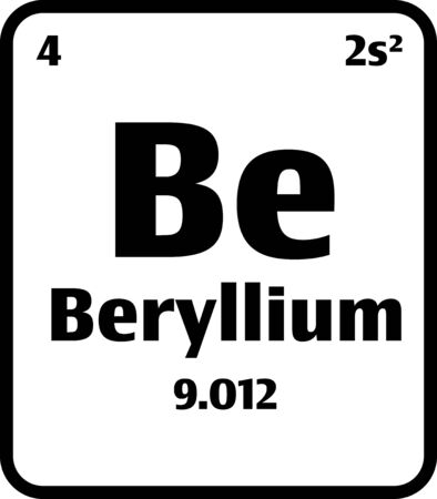 Beryllium (Be) button on black and white background on the periodic table of elements with atomic number or a chemistry science concept or experiment.