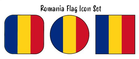 Romania Flag Button set - rounded, circle, and square for European push button concepts.