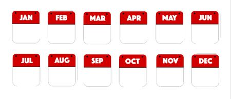 Blank Calendar Red and White Button icon set on white, internet like for business, education, today or holiday use Stock Illustratie