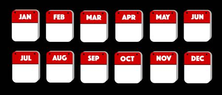 Blank Calendar Red and White reflective Button icon set, internet like for business, education, today or holiday use Stock Illustratie