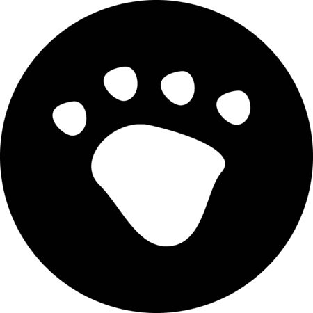 White dog or cat paw print button pet vector icon on black circle. Animal, pet, tracks, and footprints concepts.