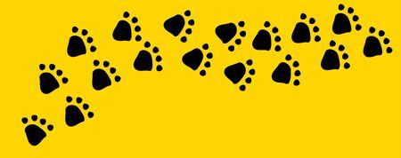 Black dog or cat pet footprint tracks on bright yellow background. Animal and pet concept. Vettoriali