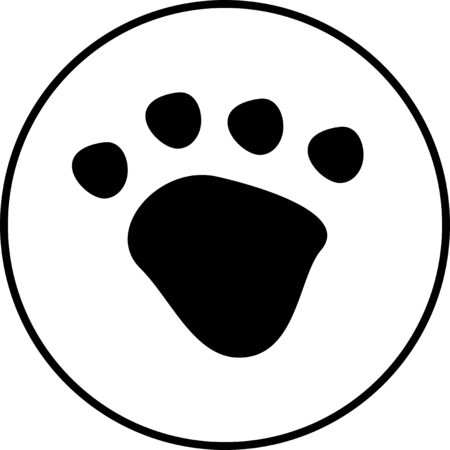 Black dog or cat paw print button pet vector icon on white circle. Animal, pet, tracks, and footprints concepts. Vettoriali