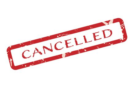 Cancelled red vintage grunge stamp on white background for failure, or rejection concepts. 向量圖像