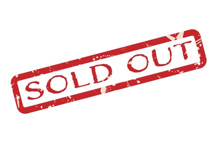 Sold out Red Grunge Stamp Sign on white background