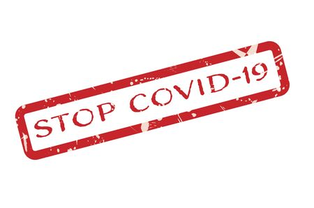 Stop COVID-19 Red Grunge Stamp Sign on white background