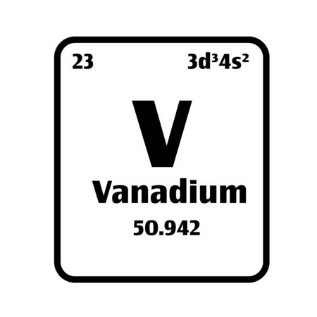 Vanadium (V) button on black and white background on the periodic table of elements with atomic number or a chemistry science concept or experiment.