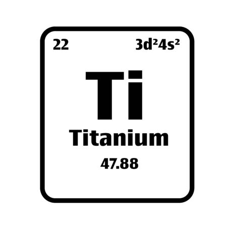 Titanium (Ti) button on black and white background on the periodic table of elements with atomic number or a chemistry science concept or experiment.