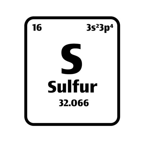Sulfur (S) button on black and white background on the periodic table of elements with atomic number or a chemistry science concept or experiment.