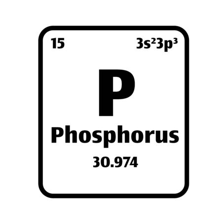 Phosphorus (P) button on black and white background on the periodic table of elements with atomic number or a chemistry science concept or experiment.