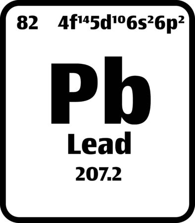 Lead (Pb) button on black and white background on the periodic table of elements with atomic number or a chemistry science concept or experiment. 向量圖像