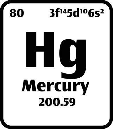 Mercury (Hg) button on black and white background on the periodic table of elements with atomic number or a chemistry science concept or experiment.