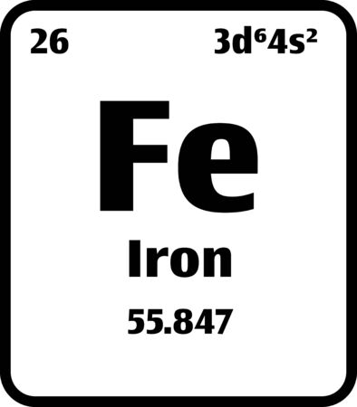 Iron (Fe) button on black and white background on the periodic table of elements with atomic number or a chemistry science concept or experiment.