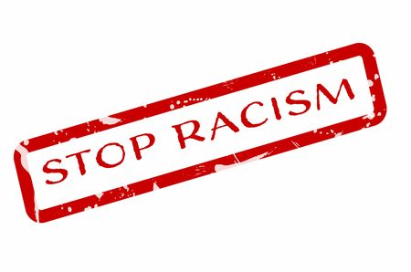 Stop Racism grungy red sign symbolizing the need to stop prejudice and discrimination. 向量圖像