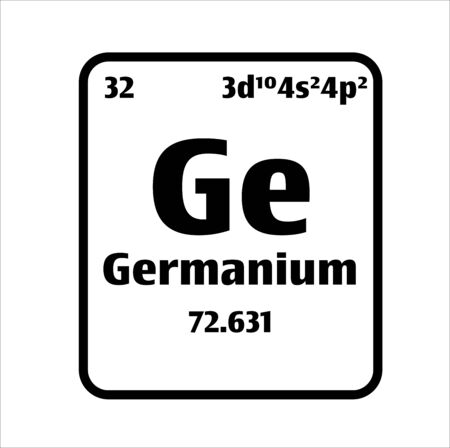 Germanium (Ge) button on black and white background on the periodic table of elements with atomic number or a chemistry science concept or experiment.