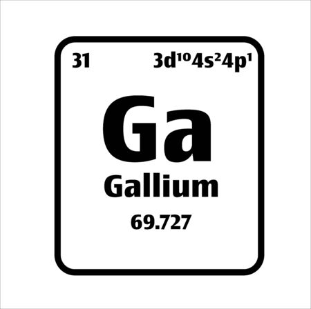 Gallium (Ga) button on black and white background on the periodic table of elements with atomic number or a chemistry science concept or experiment. 向量圖像