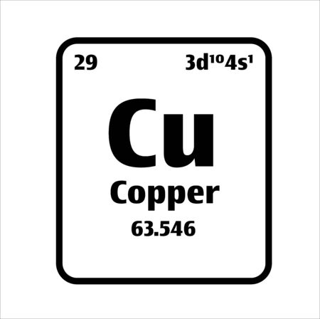 Copper (Cu) button on black and white background on the periodic table of elements with atomic number or a chemistry science concept or experiment.