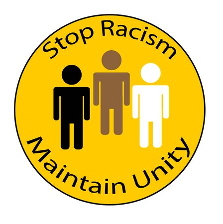 Stop Racism and maintain unity circle vector button icon on yellow background with all nations symbolized together.