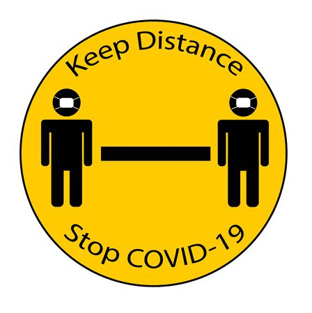 Keep Distance Sign on yellow with people in masks on words separating people for public health and safety during Coronavirus (COVID-19), global pandemic.