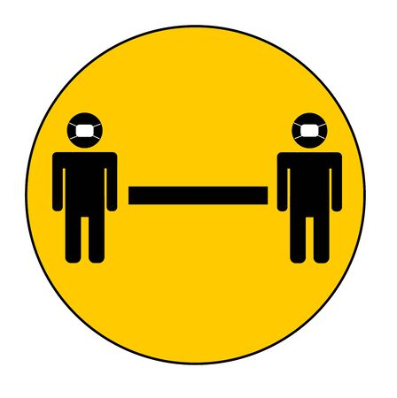 Two meter or 6 feet social distancing circle: people in masks on yellow icon vector with arrow and words separating people for public health and safety during Coronavirus (COVID-19), global pandemic.