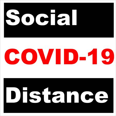 Social distancing concept: Black white and red letters in vector words separating people for public health and safety during Coronavirus (COVID-19), global pandemic.