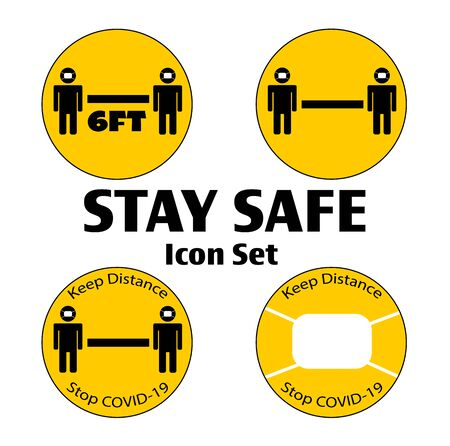 Stay Safe Icon Set of Yellow Warning Button Icons for opening again social distancing and COVID-19 prevention.