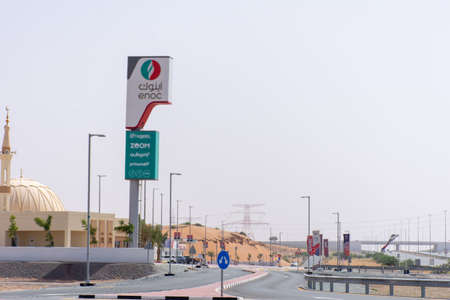 """Ras al Khaimah, RAK/United Arab Emirates - 5/15/2020 - Enoc Gas station for fuel fill ups. Oil and Petrol prices drop."""