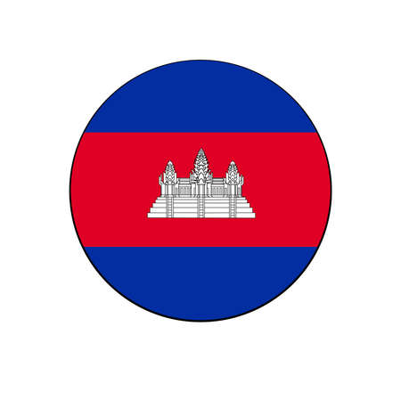 Cambodia Flag Button circle on isolated white for Asian push button concepts.