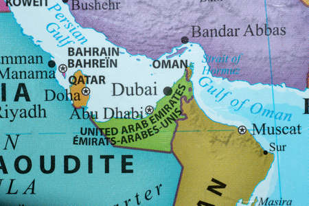 12.10.2020 Dubai, UAE - Colorful country map of the United Arab Emirates (Dubai) and Muscat, Oman close up in the Middle East on Gulf in English and French.