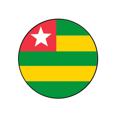 Togo green and yellow and red Flag Button circle for African push button concepts.