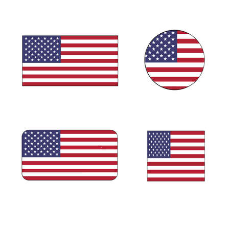 United States Vector Flag Icon set the stars and stripes, Old Glory, and the Star-Spangled Banner for independence day and political concepts.