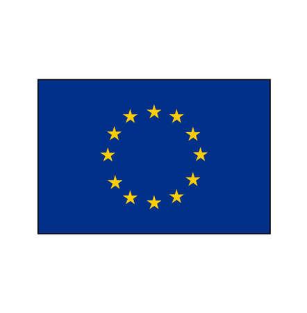 European Union (EU) blue flag with yellow stars in circle vector rectangle flag.