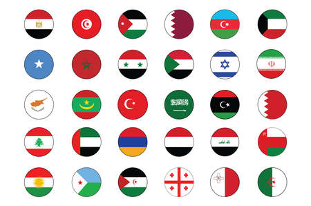 30 Middle East and North Africa Flag Circle push button Icon Set of major countries and regions.