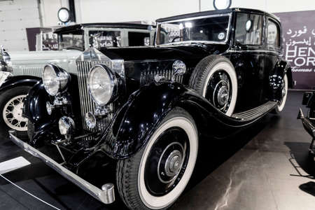 """""""7/31/2021 - Sharjah, UAE: Rolls Royce 25/30 a classic black 1934 United Kingdom luxury car."""