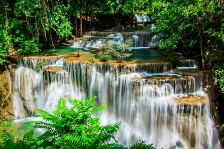 kamin: Waterfall Huay Mae Kamin Thailand Stock Photo