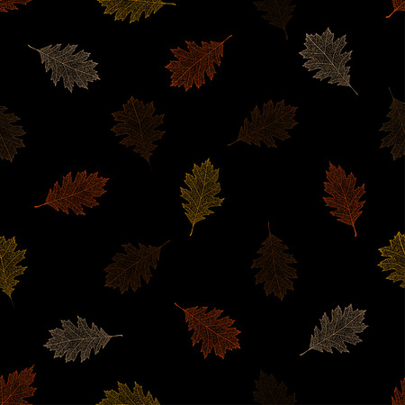 Seamless pattern of autumn leaves of northern red oak on a black background.