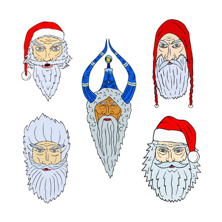 Faces of Santa Clauses of different countries