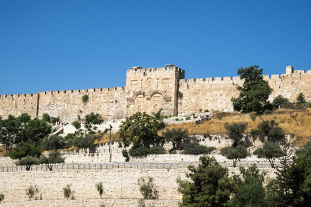 Fortress walls of the Old Jerusalem and the Golden Gate (Israel, Jerusalem) Redakční