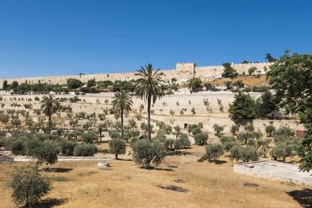 Fortress walls of the Old Jerusalem and the Golden Gate (Israel, Jerusalem) Stock Photo