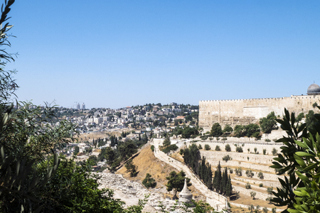 View of Jerusalem from the Mount of Olives. On the right wall of the old city (Israel, Jerusalem)