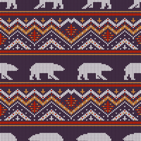Winter knitted woolen pattern with polar bears and ornament.