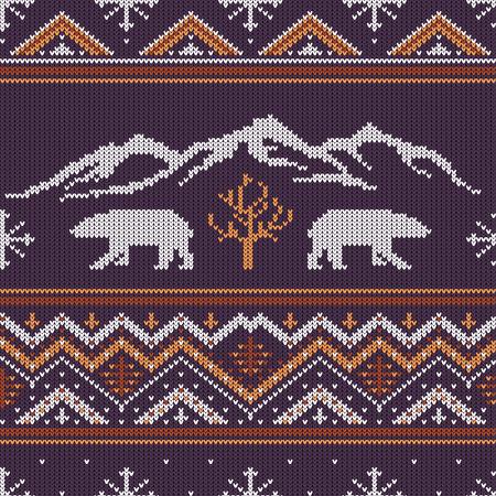 Winter gebreide wollen patroon met ijsberen op een achtergrond van met sneeuw bedekte bergen.