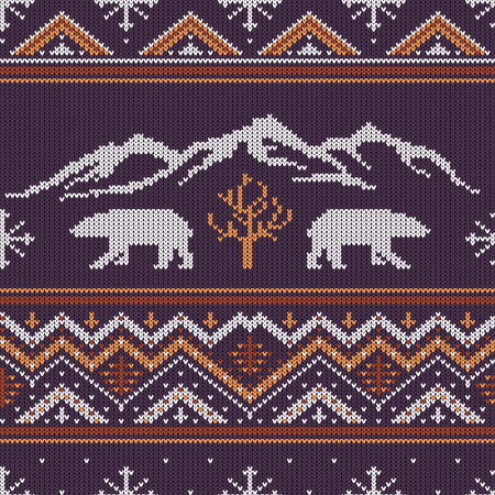 Winter knitted woolen pattern with polar bears on a background of snow-capped mountains. Çizim