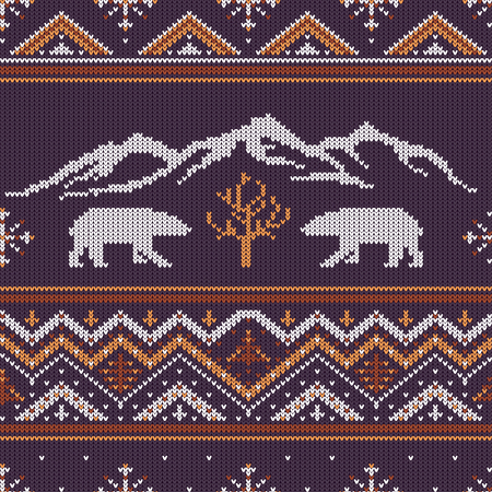 Winter knitted woolen pattern with polar bears on a background of snow-capped mountains. Ilustração
