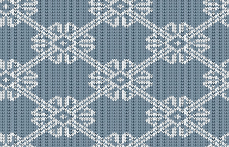 Norwegian knitted pattern in vintage blue color. Woolen seamless knitted pattern