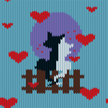 Knitted woolen seamless pattern for Valentines Day. Black cat and a white kitty are sitting close to each other