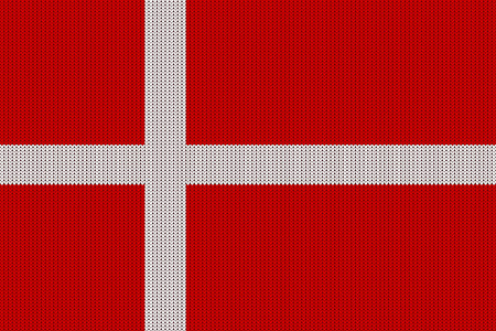 Flag of Denmark on a vector knitted woolen texture. Seamless knitted Danish flag
