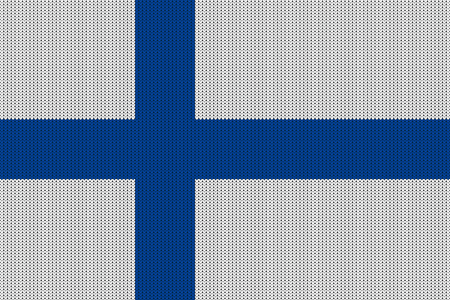 Flag of Finland on vector knitted woolen texture. Seamless knitted Finnish flag