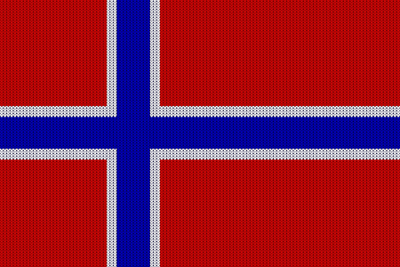 Flag of Norway on vector knitted woolen texture. Seamless knitted Norwegian flag