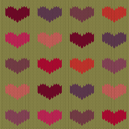 Knitted woolen seamless pattern with colored hearts on mustard background. Valentines Day